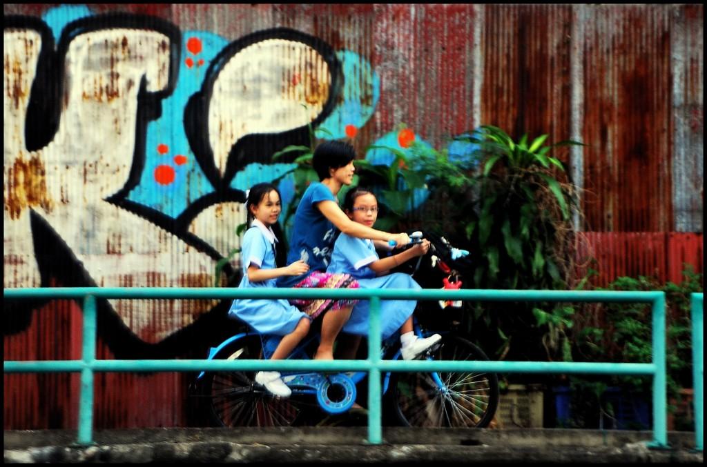 Bangkok, kids on bike