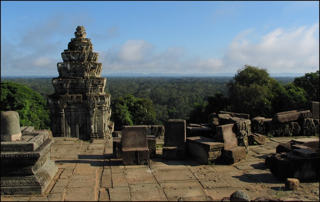 View from Bahkeng over Angkor Tom with Phnom Kulen on the horizon