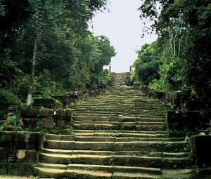 View from the foot of the steps on the Thai side of Preah Vihear.