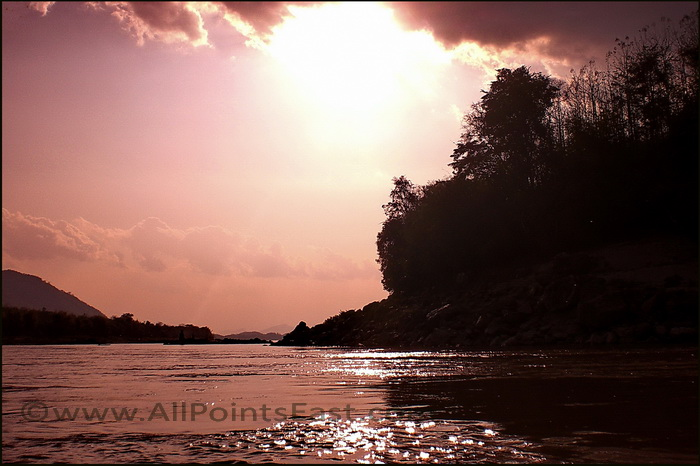 The Ou River Northern Laos. Sunset on the Ou
