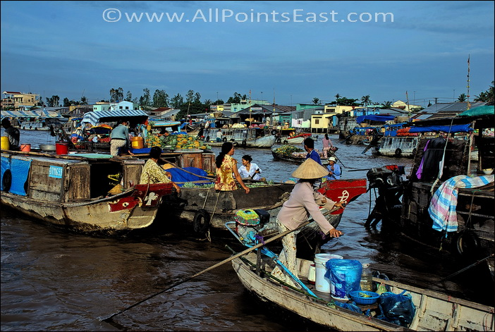 Can Tho floating market. Can hardly see the water for the boats!