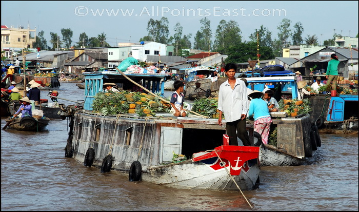 Can Tho floating market. Pineapple boat - each boat tends to specialize in 1 or 2 crops