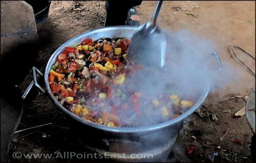 Cooking lunch for monks on Koh Dach, Cambodia
