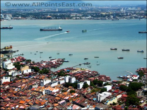 Aerial views of George Town, Penang