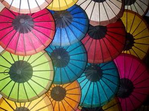 Handmade parasols in Luang Prabang Market