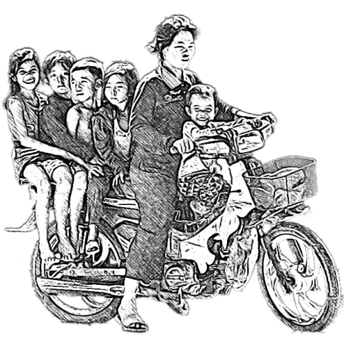 Family tours. Cambodian family on motorbike