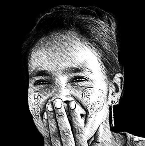 Private tours. Shy Burmese girl