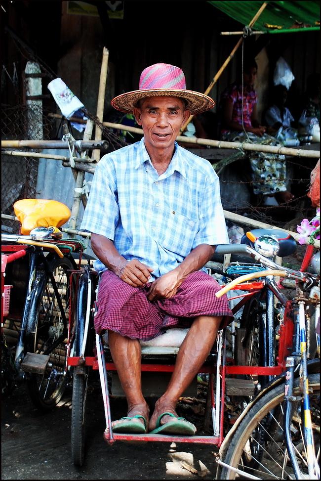 Portraits of Myanmar. Rickshaw driver, Yangon