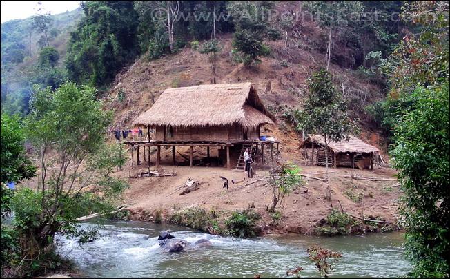 migration of Tai groups. White Tai house near Dien Bien Phu
