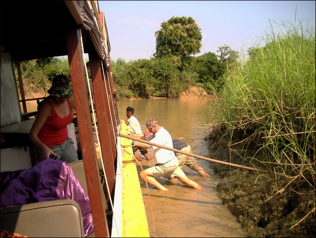 Cambodian Boat Journey. Stuck on the Sangkar River