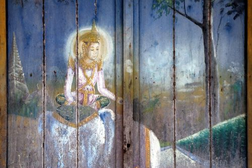 The old temple paintings at Wat Kean Kleang, Phnom Penh, Cambodia