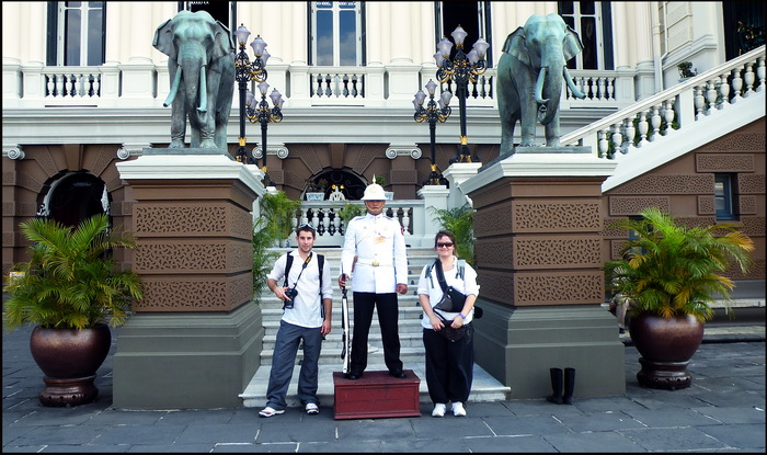 Helping to guard the Royal Palace in Bangkok