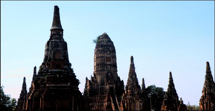 Silhouette of Ayuthaya's stupas