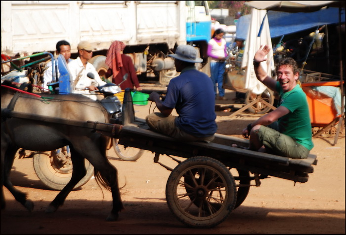 Last but not least is Rick doing a tour of Skuon market by horse cart