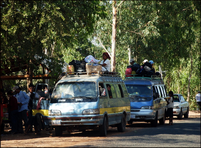 Public Transport Cambodia-style. Bus stop on highway #2