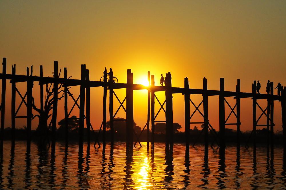 The famous U-Bein Bridge near Mandalay