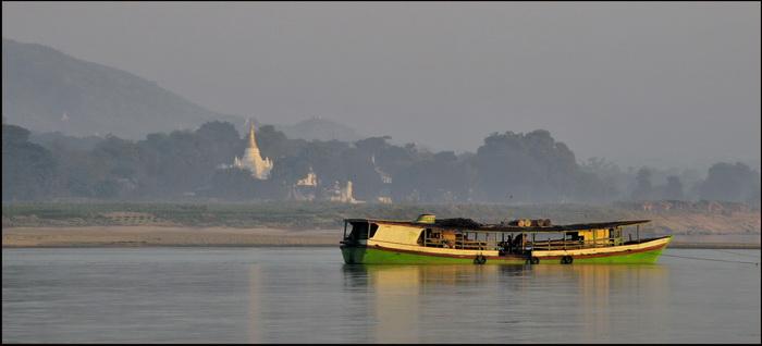 Boat on Irrawaddy at Sagaing