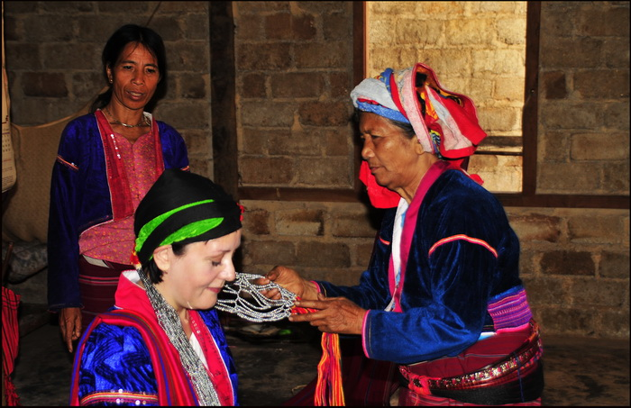 Hiking in the Shan Hills. Dressing up Cathy in traditional Palaung ceremonial cotume