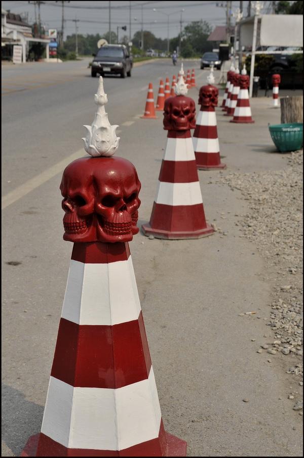 Traffic cones, Wat Rong Khun