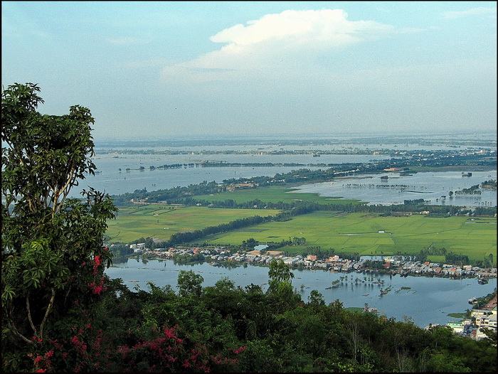 Looking east across flooded fields to Chau Doc Town