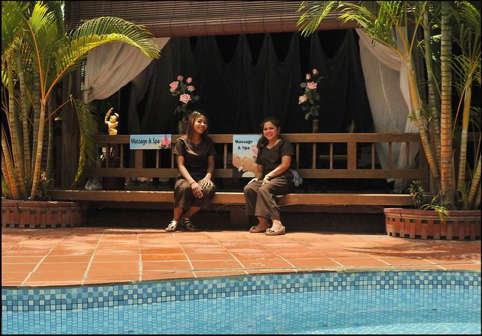 Poolside massage and spa area