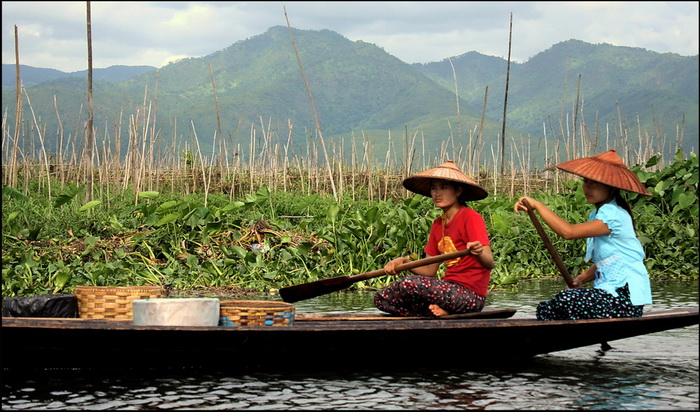 Inle Lake with floating gardens