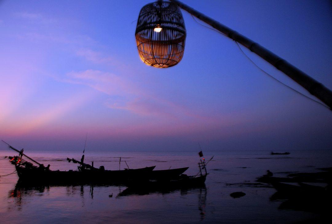 Cambodia, Kep, crab market sunset