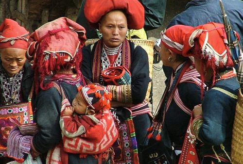 Vietnam, Red Dzao women in Sapa market
