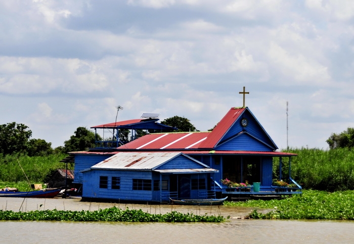 Boat journey through Cambodia. Prek Toal, floating church