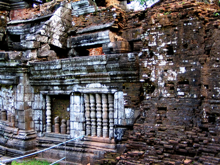Laos World Heritage. 11th c. sandstone addition to a much earlier brick temple