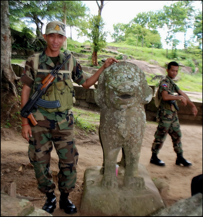 Armed and dangerous? No! Our bored and exdtermeley hospitable guides on a recent, personal, visit to P Vihear