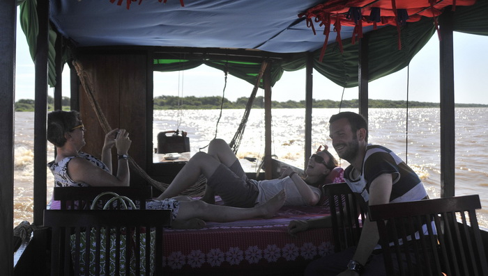 Chilling out on the boat to Battambang