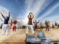 Aerobics session on the riverside