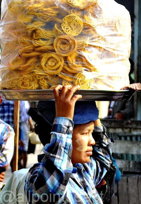 Noodle seller on the Pathein waterfront