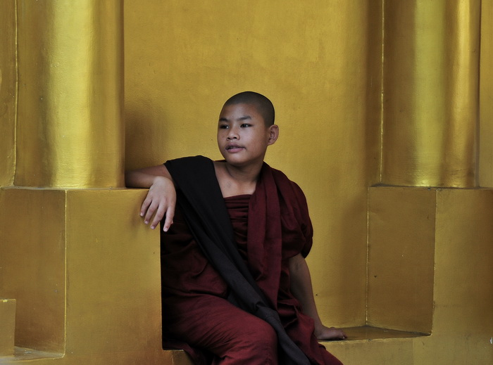 Shwedagon, young monk
