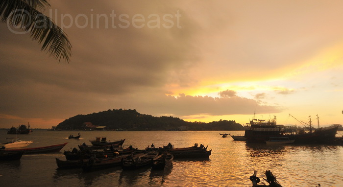 South Burma tour Sunset over Myeik port