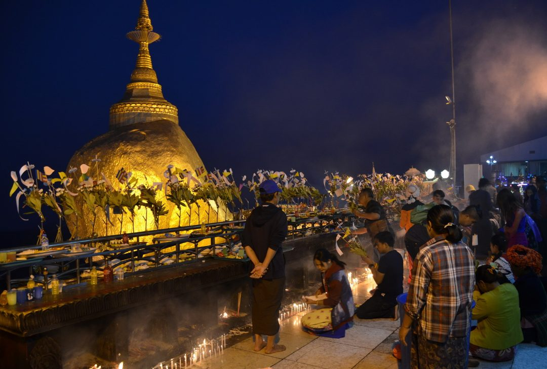 Burma, devotees at the Golden Rock