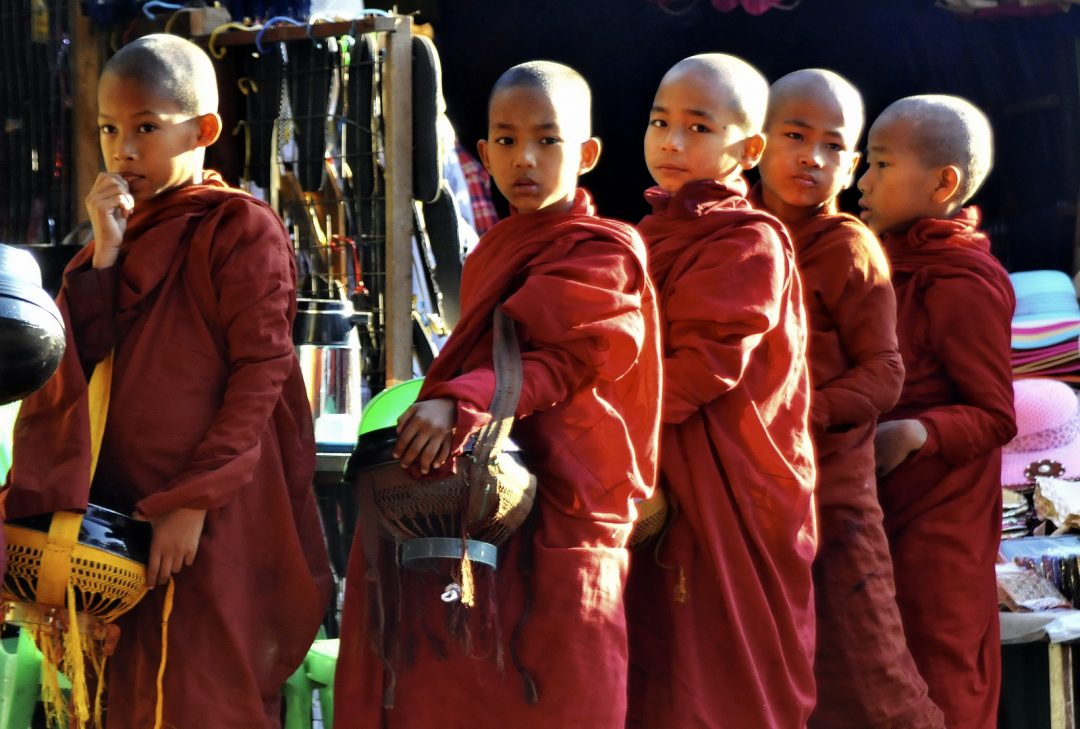 Burma, young monks at the Golden Rock