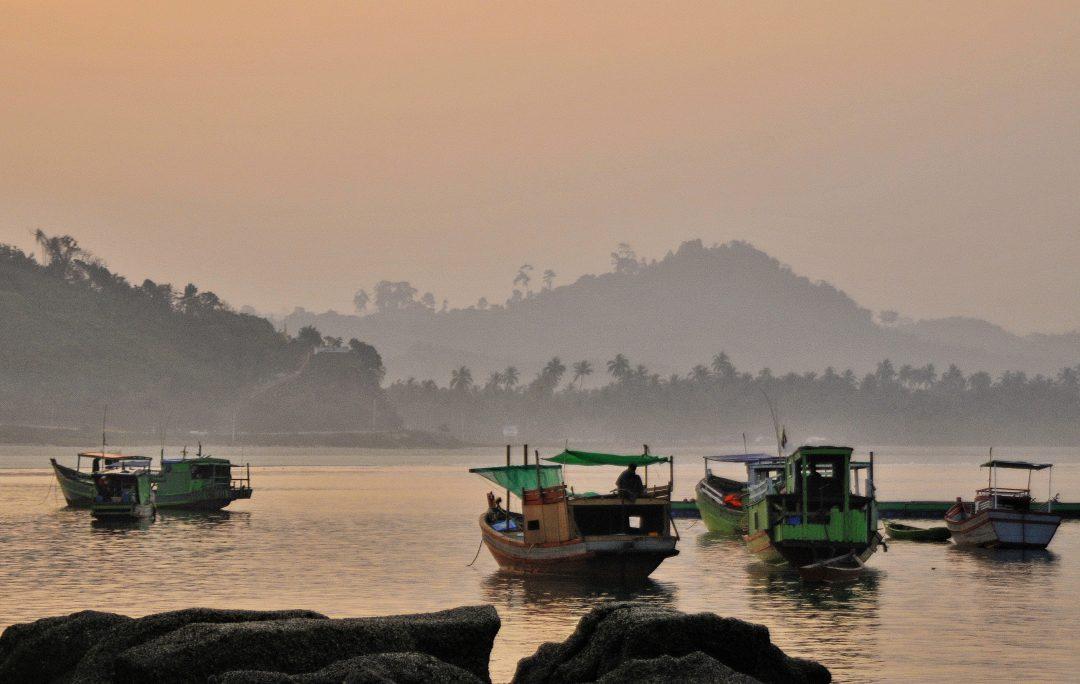 Burma, Ngwe Saung fishing boats