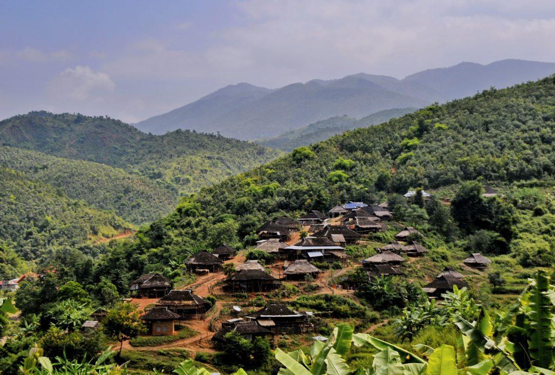Burma, mountain landscape near Kengtung
