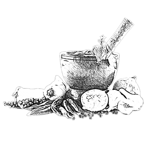 Food, mortar and pestle