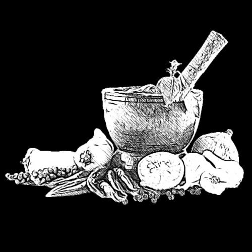 Food, mortar and pestle