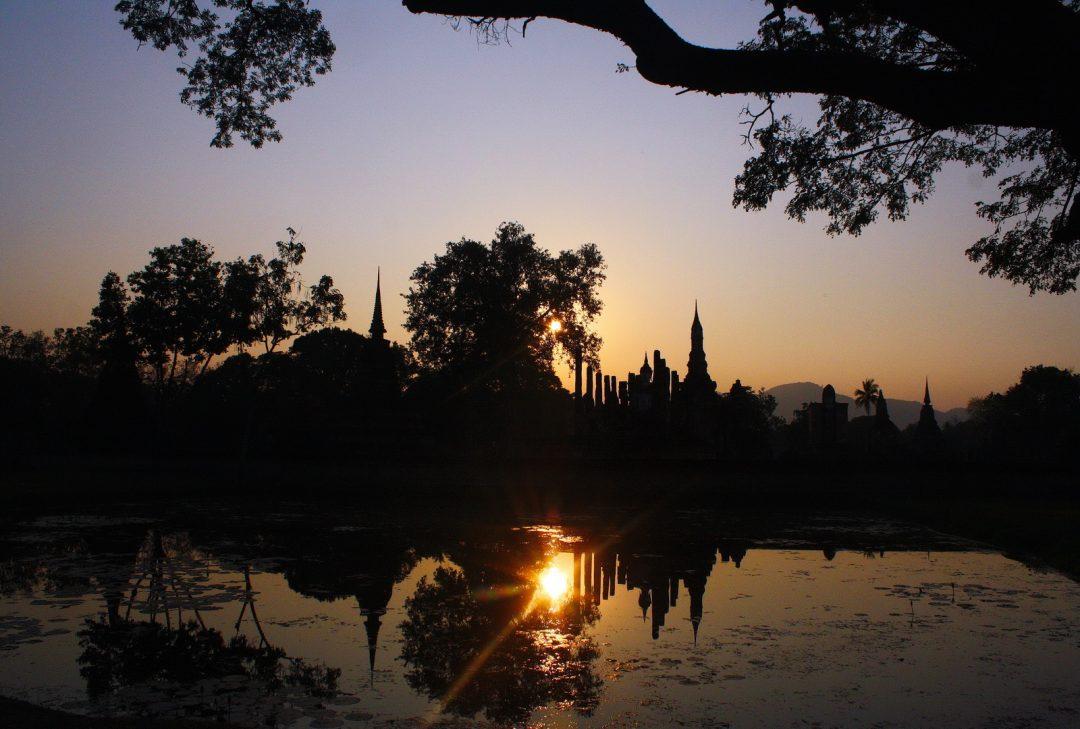 Thailand, Sukhothai sunset