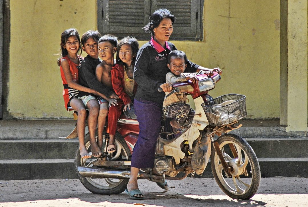 Cambodia, taking the kids to school