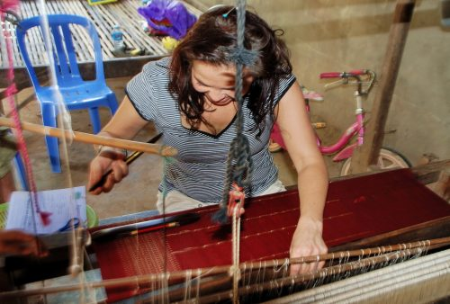 Cambodia, hands-on weaving