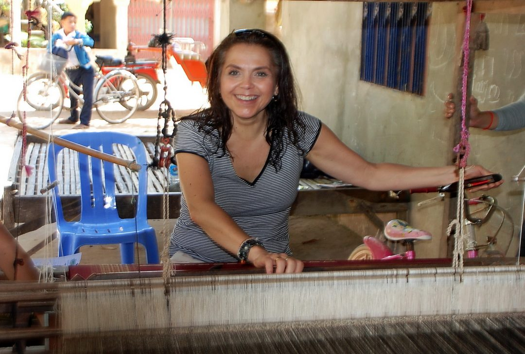 Cambodia, Koh Dach, having a go at weaving