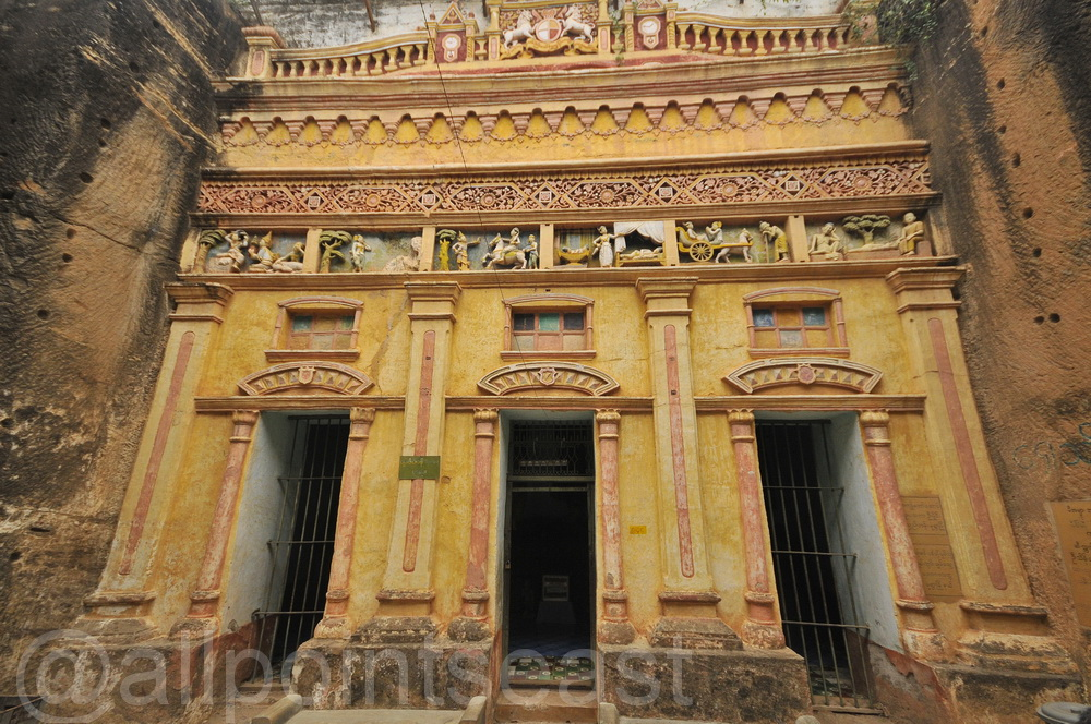 Burma, (Myanmar), ancient rock temple at Monywa