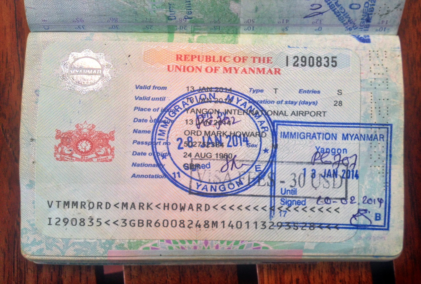 Visa as recieved from the embassy
