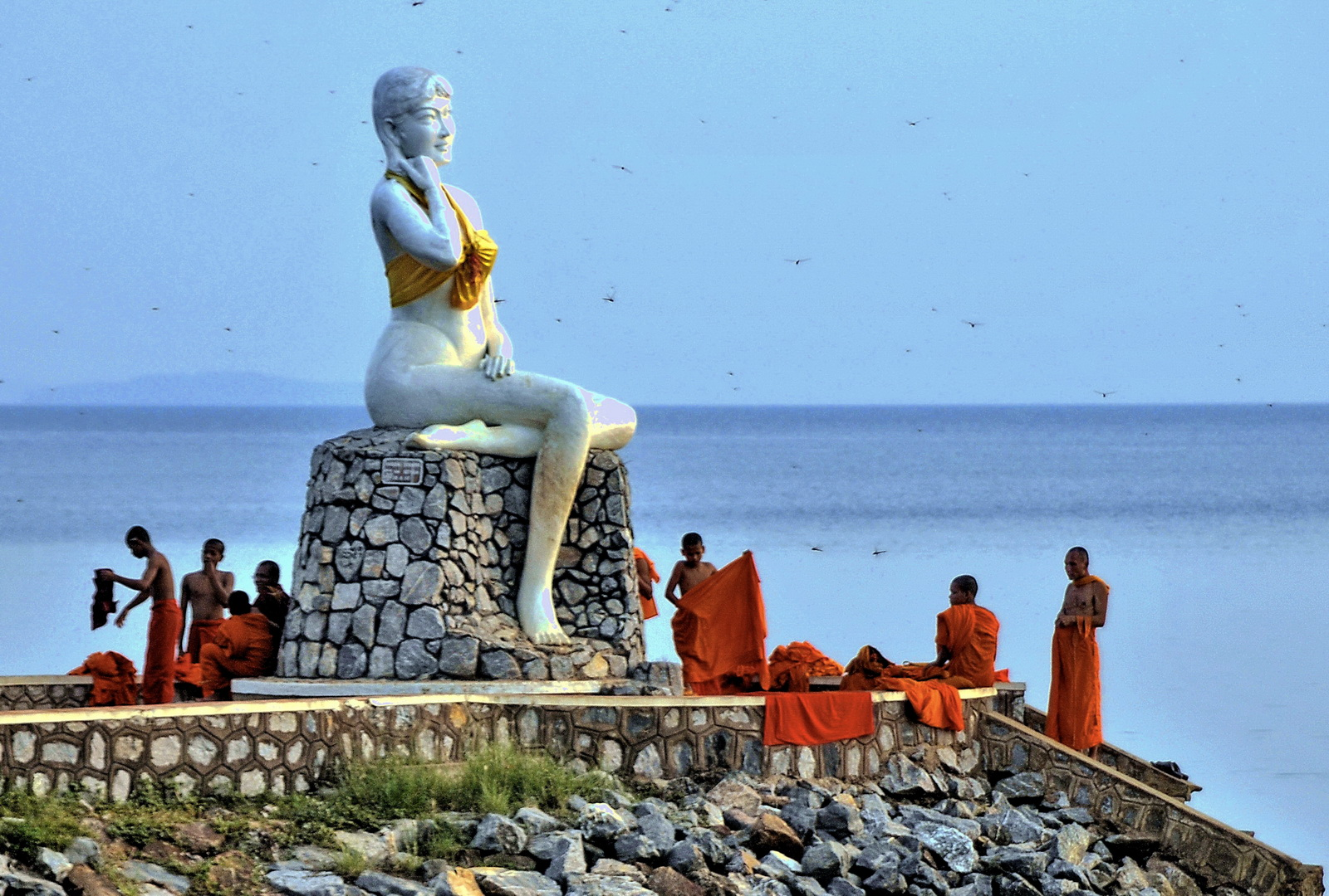 Cambodia, Kep mermaid and bathing monks