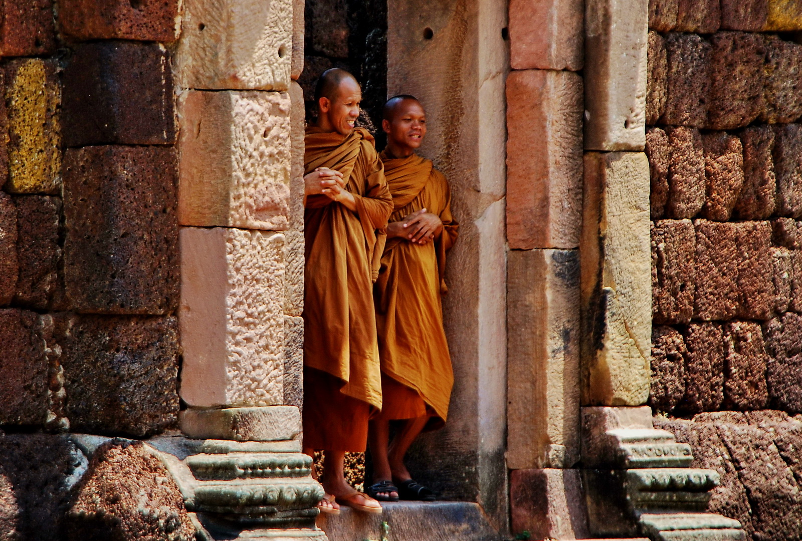 Local monks exploring Phnom Rung